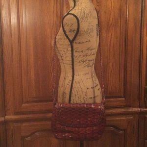 Vintage Valerie Stevens Basket Weave Leather Bag
